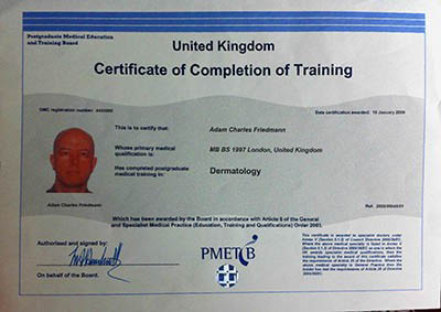 Dr Adam Friedmann Certificate of Completion of Training