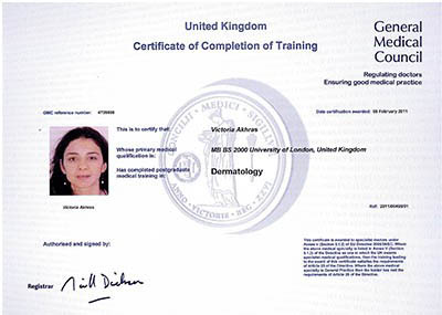 Dr Victoria Certificate of Training