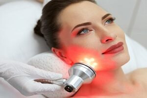 Image of Phototherapy on a Women's Face | Harley Street Dermatology Clinic
